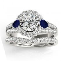 Diamond Halo w/ Blue Sapphire Pear Bridal Set Palladium 1.17ct