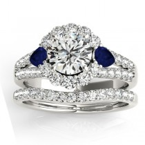 Diamond Halo w/ Blue Sapphire Pear Bridal Set Platinum 1.17ct