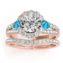 Diamond Halo w/ Blue Topaz Pear Bridal Set 14k Rose Gold 1.17ct