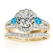 Diamond Halo w/ Blue Topaz Pear Bridal Set 14k Yellow Gold 1.17ct