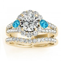 Diamond Halo w/ Blue Topaz Pear Bridal Set 18k Yellow Gold 1.17ct
