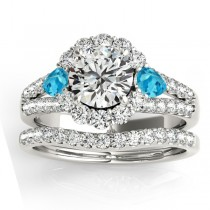 Diamond Halo w/ Blue Topaz Pear Bridal Set Palladium 1.17ct