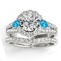 Diamond Halo w/ Blue Topaz Pear Bridal Set Platinum 1.17ct