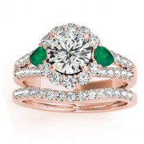 Diamond Halo w/ Emerald Pear Bridal Set 18k Rose Gold 1.17ct