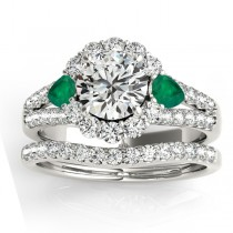 Diamond Halo w/ Emerald Pear Bridal Set 18k White Gold 1.17ct