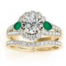 Diamond Halo w/ Emerald Pear Bridal Set 18k Yellow Gold 1.17ct