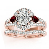 Diamond Halo w/ Garnet Pear Bridal Set 18k Rose Gold 1.17ct