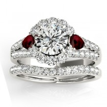 Diamond Halo w/ Garnet Pear Bridal Set 18k White Gold 1.17ct