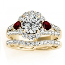 Diamond Halo w/ Garnet Pear Bridal Set 18k Yellow Gold 1.17ct