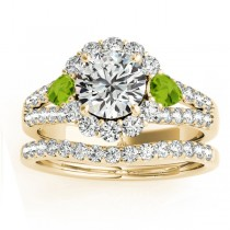 Diamond Halo w/ Peridot Pear Bridal Set 14k Yellow Gold 1.17ct