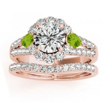 Diamond Halo w/ Peridot Pear Bridal Set 18k Rose Gold 1.17ct