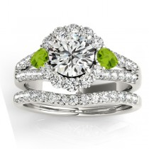 Diamond Halo w/ Peridot Pear Bridal Set 18k White Gold 1.17ct