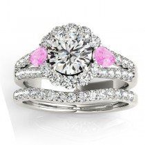 Diamond Halo w/ Pink Sapphire Pear Set 14k White Gold 1.17ct