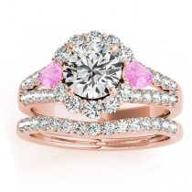 Diamond Halo w/ Pink Sapphire Pear Bridal Set 18k Rose Gold 1.17ct