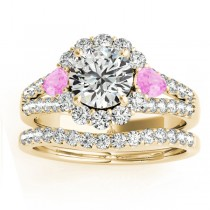 Diamond Halo w/ Pink Sapphire Pear Set 18k Yellow Gold 1.17ct