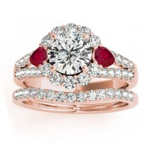 Diamond Halo w/ Ruby Pear Bridal Set 14k Rose Gold 1.17ct