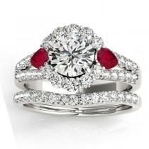 Diamond Halo w/ Ruby Pear Bridal Set 14k White Gold 1.17ct