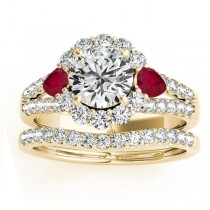 Diamond Halo w/ Ruby Pear Bridal Set 18k Yellow Gold 1.17ct