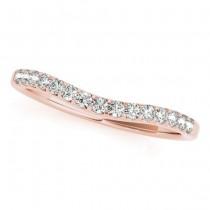 Diamond Halo w/ Pear Sidestone Wedding Band 18k Rose Gold 0.26ct