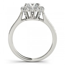 Princess Cut & Floral Halo Diamond Engagement Ring 14k White Gold (1.38ct)
