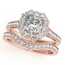 Princess Cut & Floral Halo Diamond Bridal Set 14k Rose Gold (1.58ct)