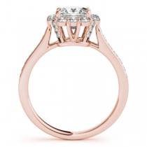 Princess Cut & Floral Halo Diamond Bridal Set 14k Rose Gold (1.58ct)