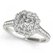Princess Cut & Floral Halo Diamond Bridal Set 14k White Gold (1.58ct)
