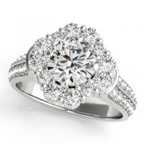 Round Cut Flower Halo Diamond Engagement Ring 14k White Gold (2.63ct)