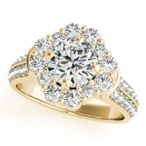 Round Cut Flower Halo Diamond Engagement Ring 14k Yellow Gold (2.63ct)