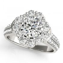 Round Cut Flower Halo Diamond Bridal Set in 14k White Gold (2.83ct)