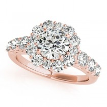 Diamond Frame Engagement Ring, Flower Design 14k Rose Gold 2.10ct