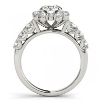 Diamond Frame Engagement Ring, Flower Design 14k White Gold 2.10ct