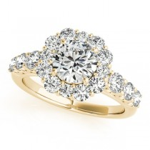 Diamond Frame Engagement Ring, Flower Design 14k Yellow Gold 2.10ct