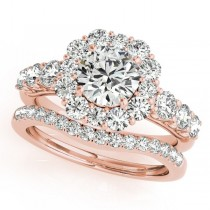 Diamond Accented Halo Bridal Set in 14k Rose Gold (2.30ct)
