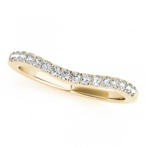 Diamond Accented Contour Wedding Ring Band in 14k Yellow Gold (0.20ct)