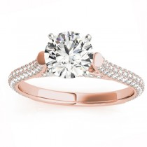 Diamond Accented Engagement Ring Setting 18K Rose Gold (0.52ct)