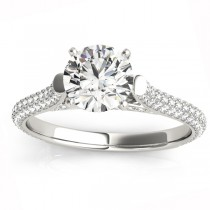 Diamond Accented Engagement Ring Setting 18K White Gold (0.52ct)