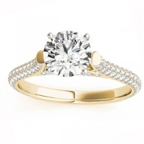 Diamond Accented Engagement Ring Setting 18K Yellow Gold (0.52ct)