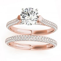 Diamond Accented Bridal Set Setting 14K Rose Gold (1.02ct)