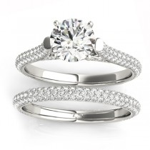 Diamond Accented Bridal Set Setting 14K White Gold (1.02ct)