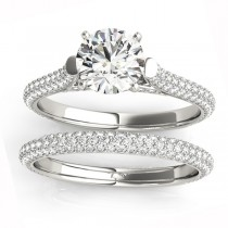 Diamond Accented Bridal Set Setting 18K White Gold (1.02ct)