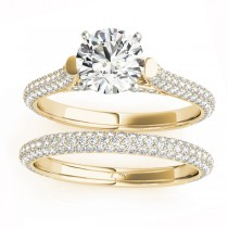 Diamond Accented Bridal Set Setting 18K Yellow Gold (1.02ct)