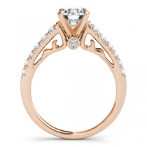 Semi Eternity Diamond Engagement Ring Cathedral 14k Rose Gold 0.38ct