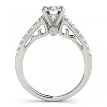 Semi Eternity Diamond Engagement Ring Cathedral 14k White Gold 0.38ct