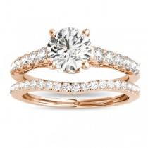 Semi Eternity Diamond Bridal Set 14k Rose Gold (0.75ct)