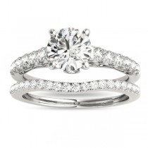 Semi Eternity Diamond Bridal Set 14k White Gold (0.75ct)