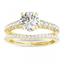 Semi Eternity Diamond Bridal Set 14k Yellow Gold (0.75ct)