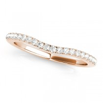 Curved Semi Eternity Diamond Wedding Band 14k Rose Gold (0.38ct)