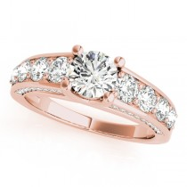 Trellis Diamond Engagement Ring w/ Side Accents 14k R. Gold (2.83ct)