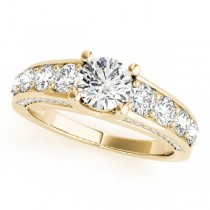 Trellis Diamond Engagement Ring w/ Side Accents 18k Y. Gold (2.83ct)
